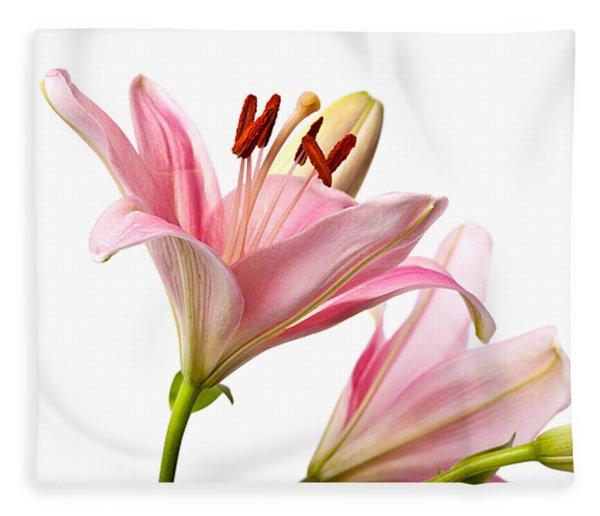 Pink Lilies 03 Fleece Blanket