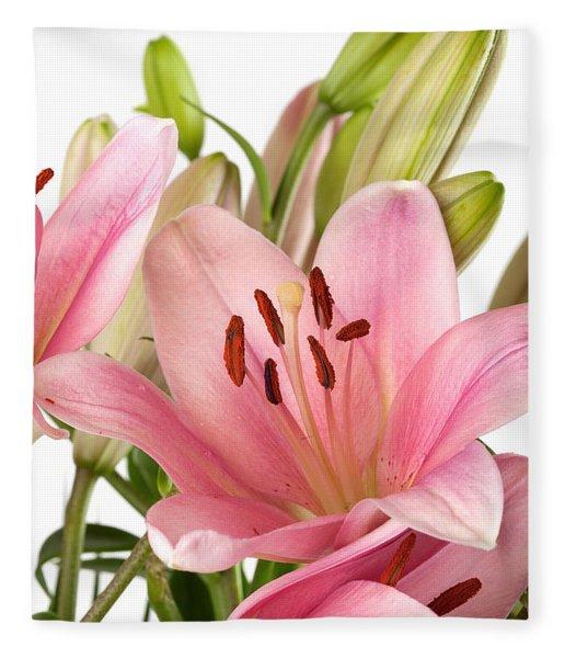 Pink Lilies 07 Fleece Blanket
