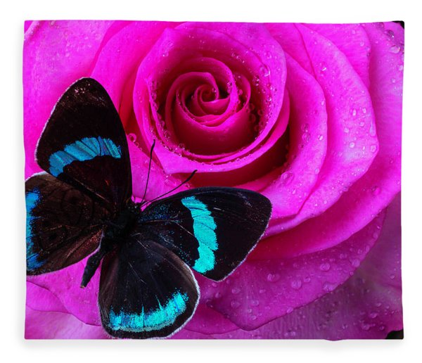Pink Rose And Black Blue Butterfly Fleece Blanket