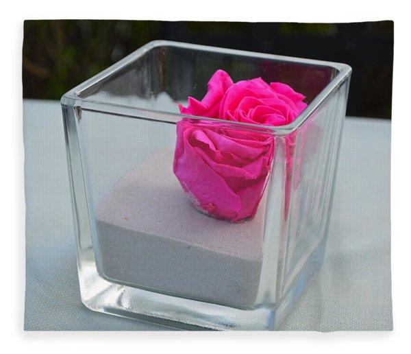 Pink Rose In Venice Fleece Blanket