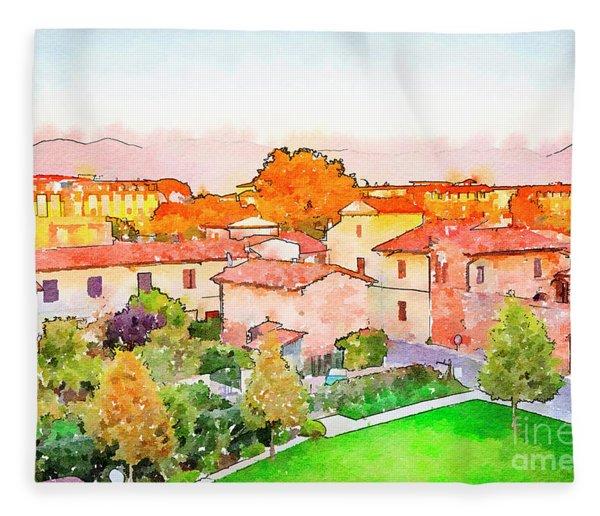 Pisa In Watercolor Style Fleece Blanket