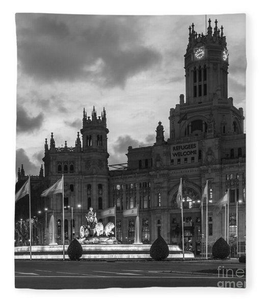 Plaza De Cibeles Fountain Madrid Spain Fleece Blanket