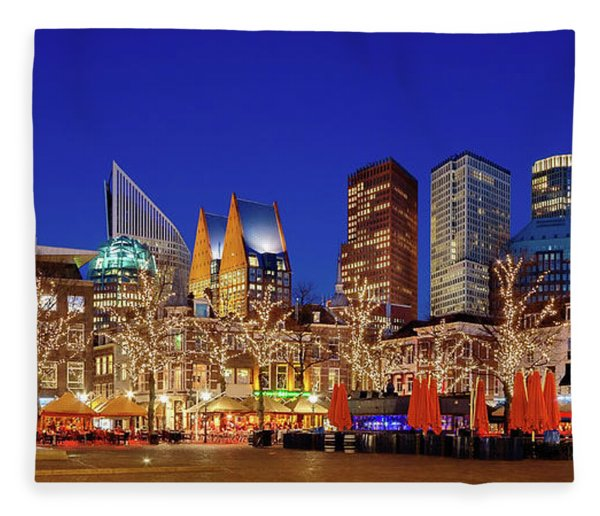 Fleece Blanket featuring the photograph Plein At Blue Hour - The Hague by Barry O Carroll