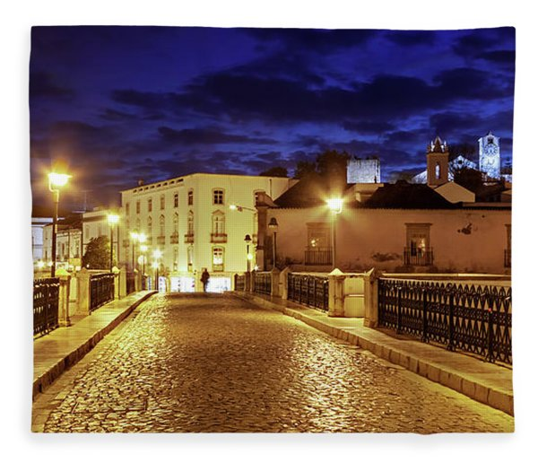 Fleece Blanket featuring the photograph Ponte Romana At Blue Hour / Tavira, Portugal by Barry O Carroll