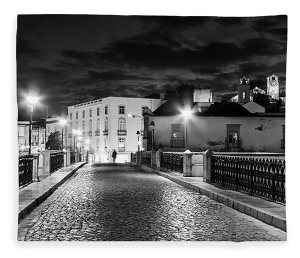 Fleece Blanket featuring the photograph Ponte Romana At Night - Tavira, Portugal by Barry O Carroll