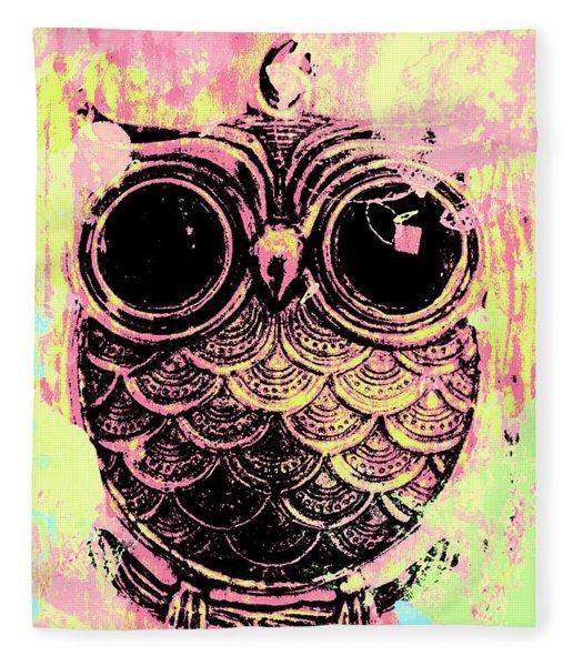 Pop Art Owl Watercolour Fleece Blanket