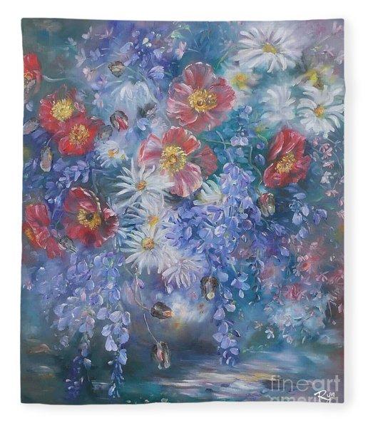 Poppies, Wisteria And Marguerites Fleece Blanket