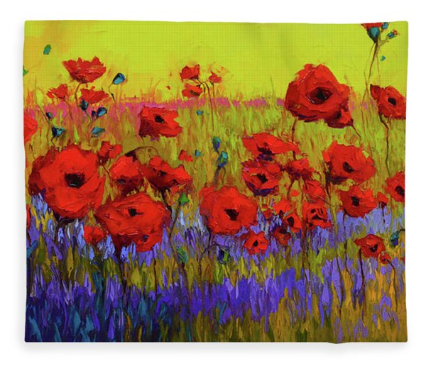 Poppy Flower Field Oil Painting With Palette Knife Fleece Blanket