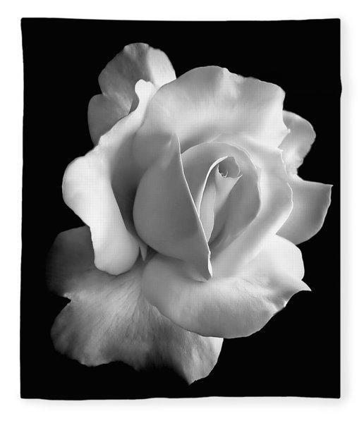 Porcelain Rose Flower Black And White Fleece Blanket