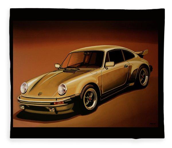 Porsche 911 Turbo 1976 Painting Fleece Blanket