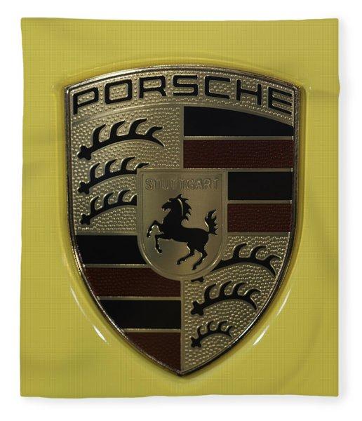Porsche Emblem On Racing Yellow Fleece Blanket