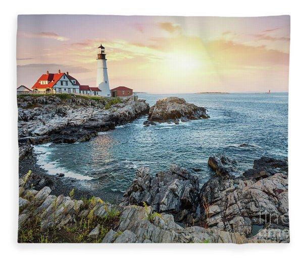 Portland Head Light At Dusk Fleece Blanket