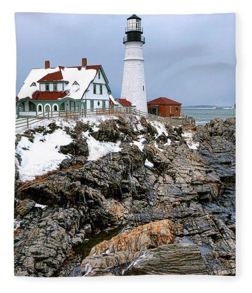 Portland Head Light In Winter Fleece Blanket