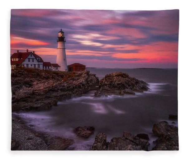 Portland Head Sunset Fleece Blanket