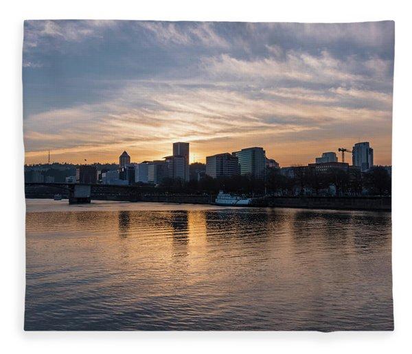 Portland Sunset Fleece Blanket