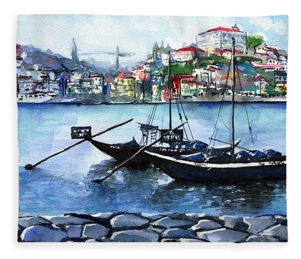 Porto Rabelo Boats Fleece Blanket