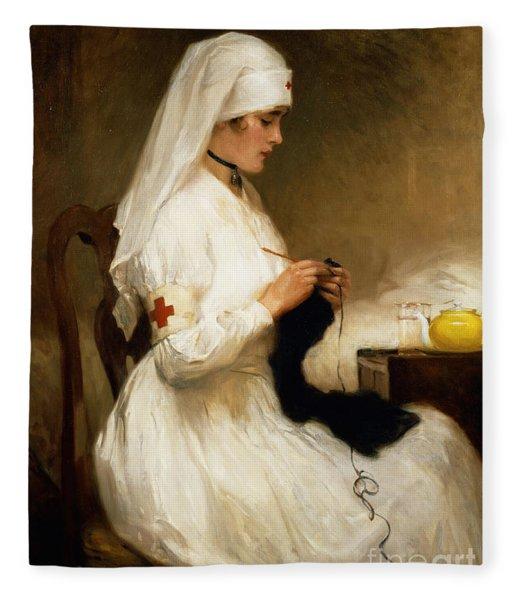Portrait Of A Nurse From The Red Cross Fleece Blanket