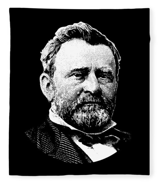 President Ulysses Grant Graphic - Black And White Fleece Blanket