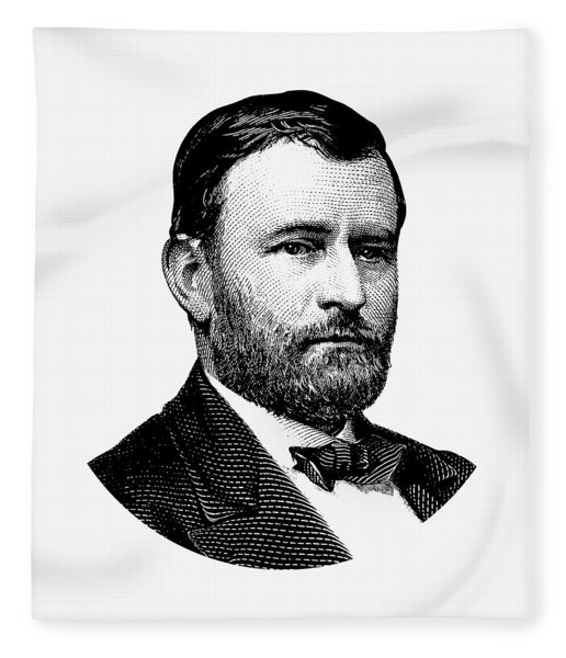 President Ulysses S. Grant Graphic White 2 Fleece Blanket
