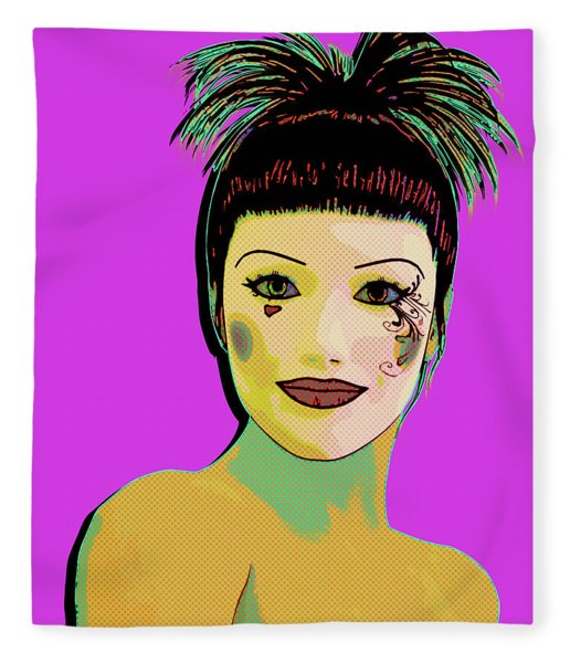 Pretty Woman Pop Art Fleece Blanket