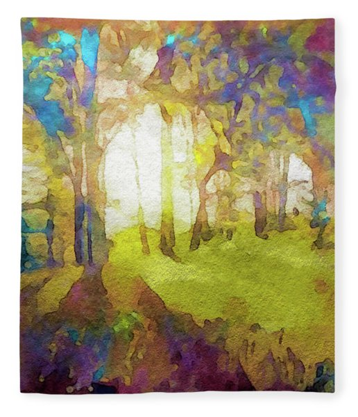 Fleece Blanket featuring the painting Prismatic Forest by Susan Maxwell Schmidt