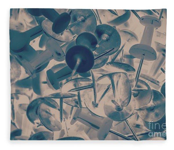 Projected Abstract Blue Thumbtacks Background Fleece Blanket