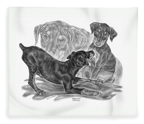 Puppy Love - Doberman Pinscher Pup Fleece Blanket