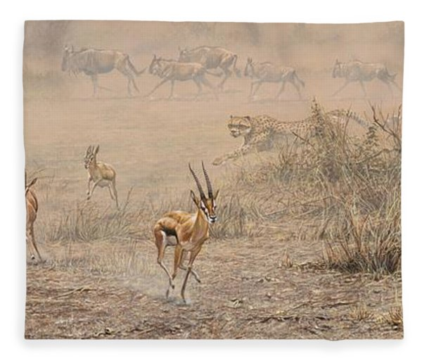Fleece Blanket featuring the painting Quick Run by Alan M Hunt