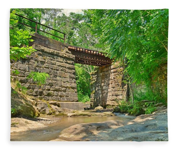Railroad Tracks At Buttermilk/homewood Falls Fleece Blanket