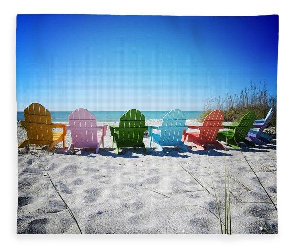 Rainbow Beach Vanilla Pop Fleece Blanket