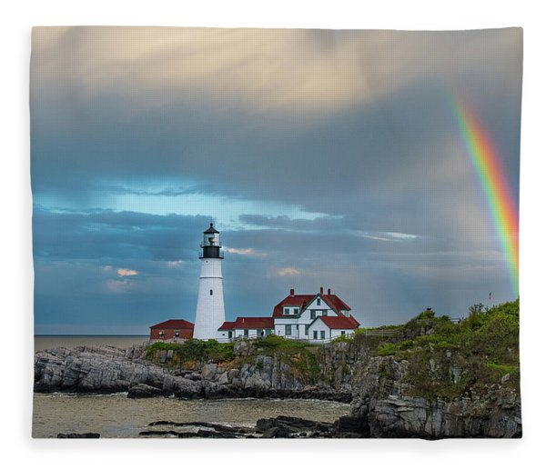 Rainbow Over Portland Head Light Fleece Blanket