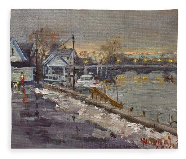 Rainy And Snowy Evening By Niagara River Fleece Blanket