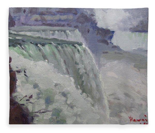 Rainy Day At The Falls Fleece Blanket