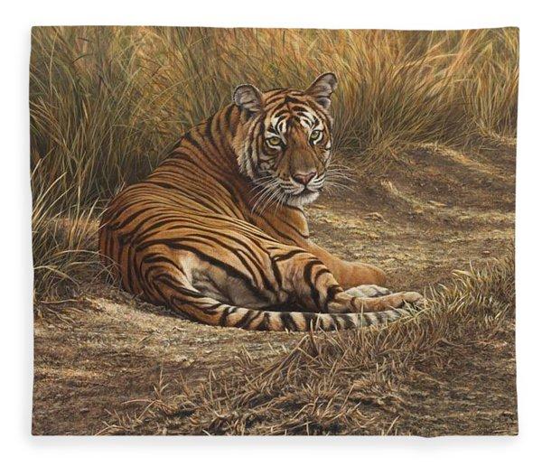 Fleece Blanket featuring the painting Ranthambore Roadblock by Alan M Hunt