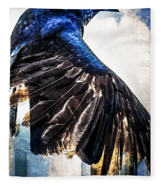 Fleece Blanket featuring the photograph Raven Attitude by Carolyn Marshall