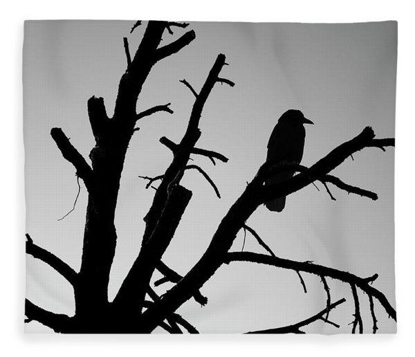 Raven Tree II Bw Fleece Blanket