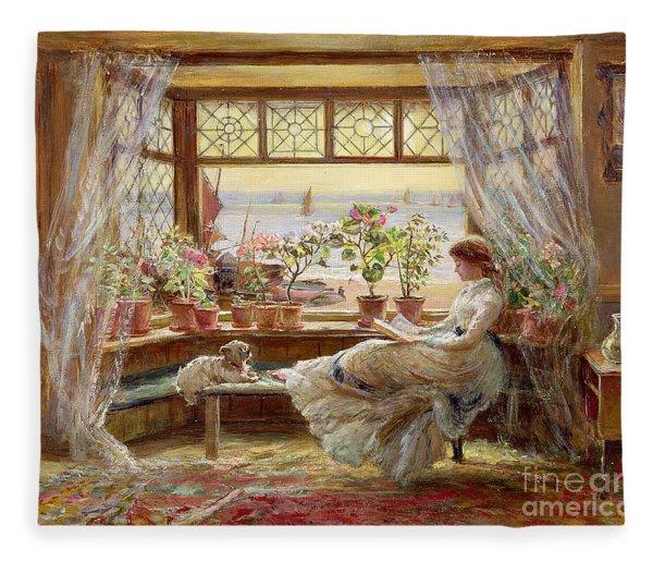 Reading By The Window Fleece Blanket