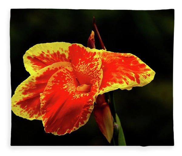 Red And Yellow Single Flower Fleece Blanket