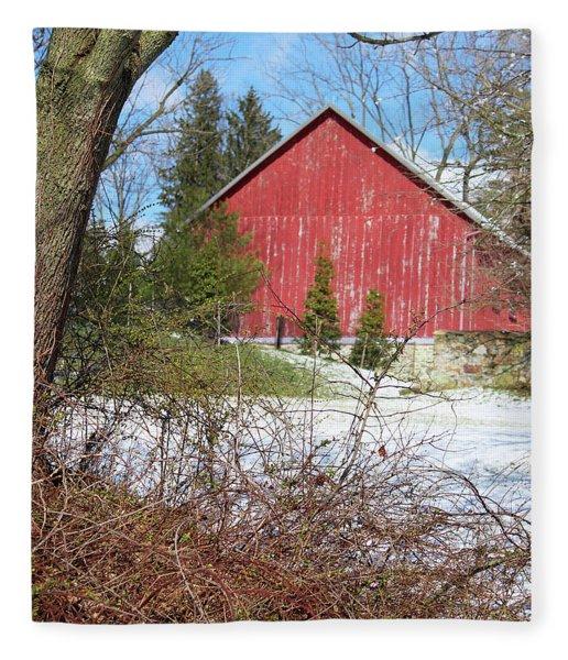 Red Barn Fleece Blanket