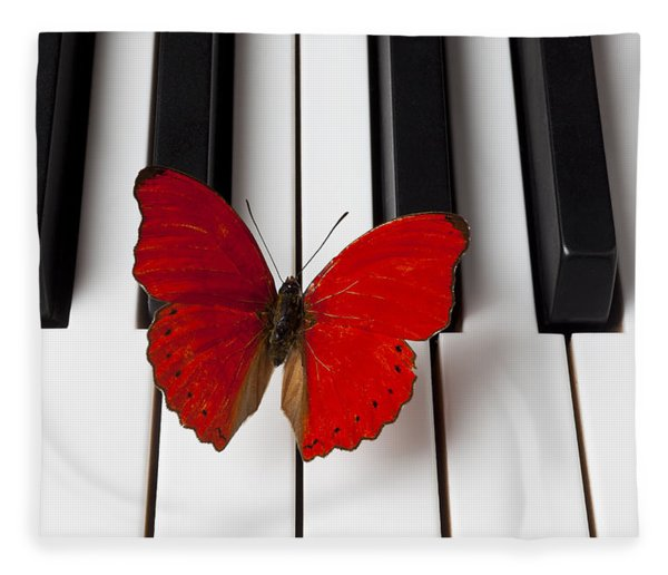 Red Butterfly On Piano Keys Fleece Blanket