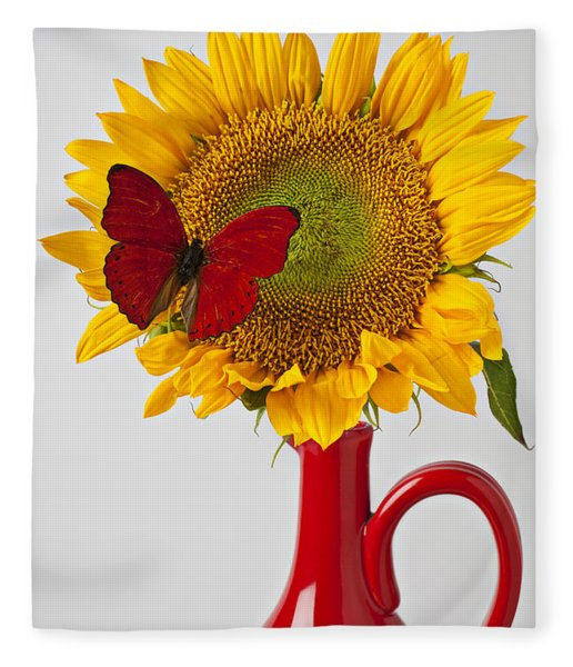 Red Butterfly On Sunflower On Red Pitcher Fleece Blanket