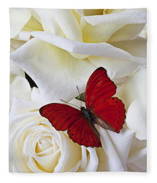 Red Butterfly On White Roses Fleece Blanket