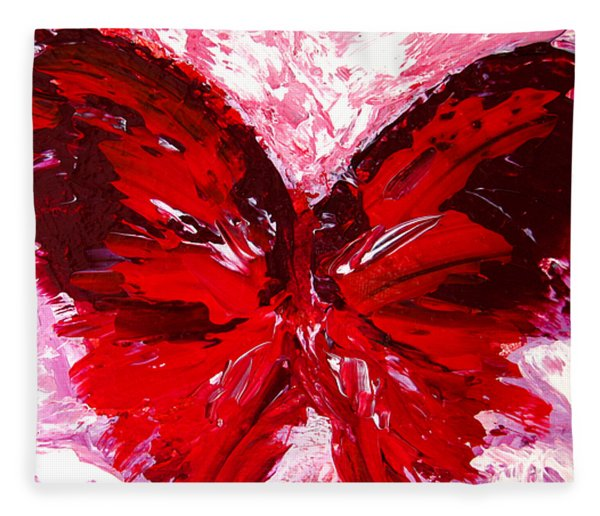 Red Butterfly Fleece Blanket