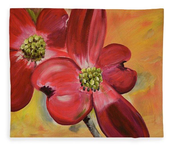 Red Dogwood - Canvas Wine Art Fleece Blanket