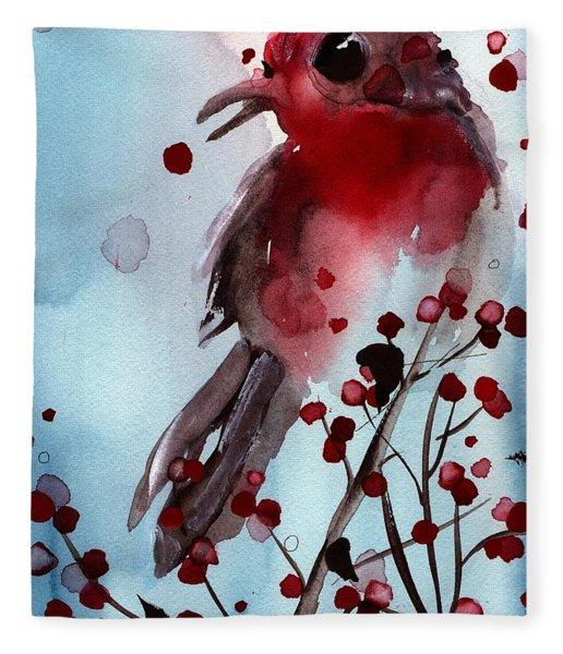 Red Finch In The Winterberry Fleece Blanket