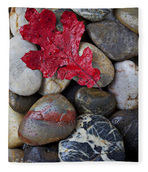 Red Leaf Wet Stones Fleece Blanket