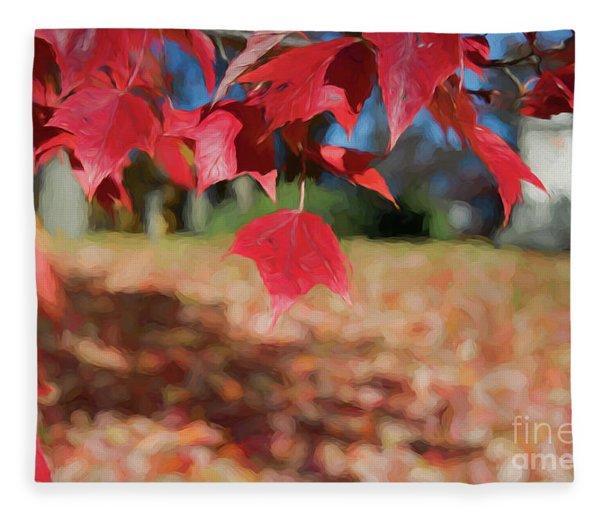 Red Leaves Fleece Blanket