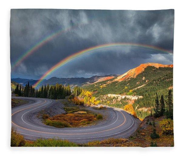 Red Mountain Rainbow Fleece Blanket
