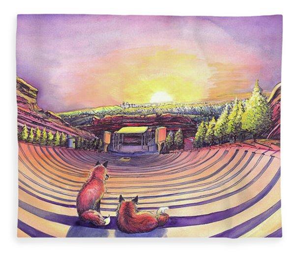 Foxes At Red Rocks Sunrise Fleece Blanket