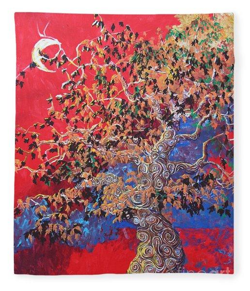Red Sky And Tree Fleece Blanket